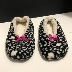 Black, White, and Pink Fuzzy Slippers